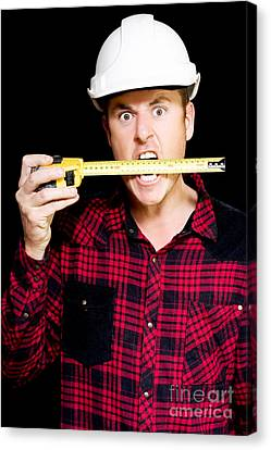 Crazy Builder Biting His Tape Measure Canvas Print by Jorgo Photography - Wall Art Gallery