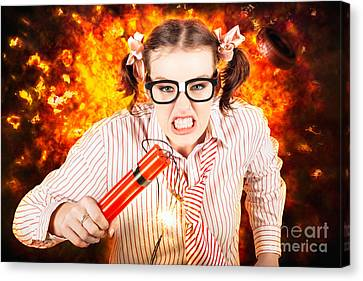Crazy Business Worker Under Explosive Stress Canvas Print by Jorgo Photography - Wall Art Gallery