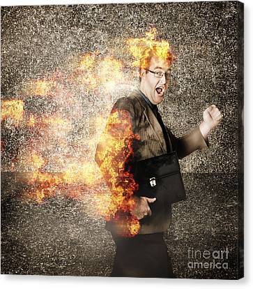 Crazy Businessman Running Engulfed In Fire. Late Canvas Print by Jorgo Photography - Wall Art Gallery
