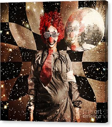 Crazy Dancing Disco Clown On A Psychedelic Trip Canvas Print by Jorgo Photography - Wall Art Gallery