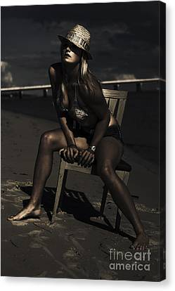 Sombre Canvas Print - Creative Beach Fashion by Jorgo Photography - Wall Art Gallery
