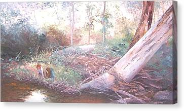 Creek In The Forest Canvas Print by Jan Matson