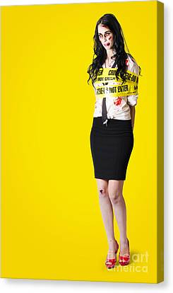 Creepy Homicide Girl Standing Undead On Yellow Canvas Print