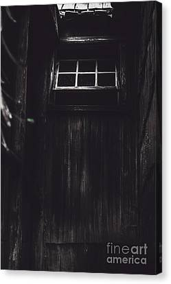 Creepy Open Horror Window In The Dark Shadows Canvas Print