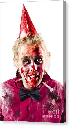 Creepy Woman In Halloween Costume Canvas Print