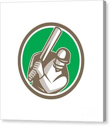 Cricket Player Batsman Batting Circle Retro Canvas Print