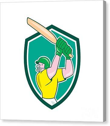Cricket Player Batsman Batting Shield Cartoon Canvas Print