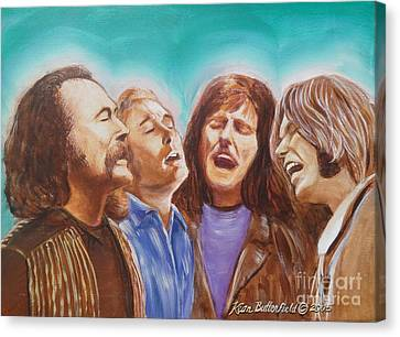 Crosby Stills Nash And Young Canvas Print by Kean Butterfield