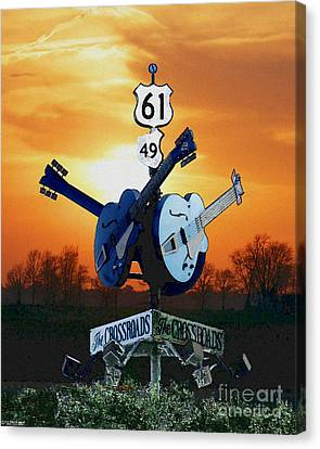Crossroads Sunset  Blues Highway 61 Canvas Print