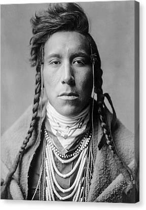 Braids Canvas Print - Crow Indian Man Circa 1908 by Aged Pixel