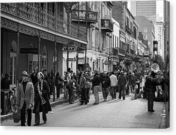 Crowds Of Bourbon Street Canvas Print by Chris Moore