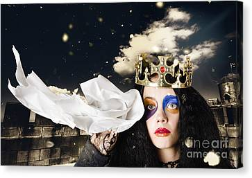 Crying Fairytale Queen Wiping Tears With Tissue Canvas Print