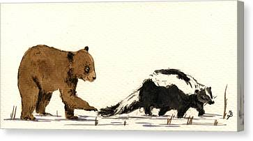Cub Bear Playing With Skunk Canvas Print by Juan  Bosco