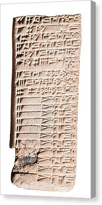 Cuneiform Clay Tablet Canvas Print by Photostock-israel