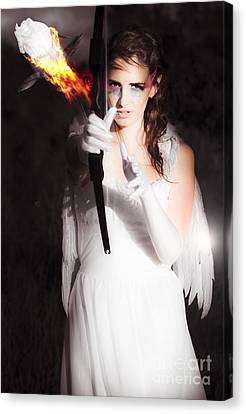 Cupid Angel Of Romance Setting Hearts On Fire Canvas Print