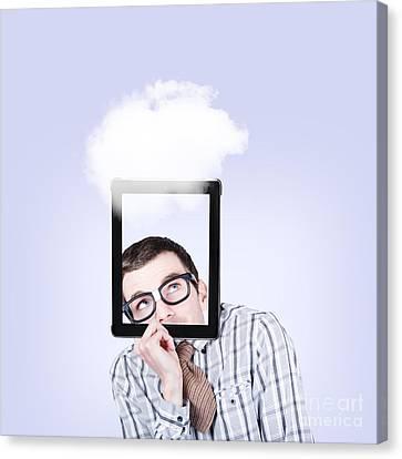 Digital Touch Canvas Print - Curious Nerd Business Man Using Cloud Computing by Jorgo Photography - Wall Art Gallery