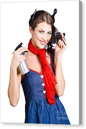 Cute Girl Model Styling A Hairdo. Pinup Your Hair Canvas Print by Jorgo Photography - Wall Art Gallery