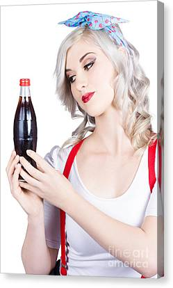 Cute Pin Up Girl With Soda Bottle. Vintage Cafe Canvas Print by Jorgo Photography - Wall Art Gallery