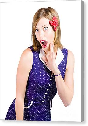 Cute Shocked Girl With Pinup Make-up And Hairstyle Canvas Print