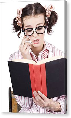 Cute Woman Reading Romance Novel Over White Canvas Print by Jorgo Photography - Wall Art Gallery