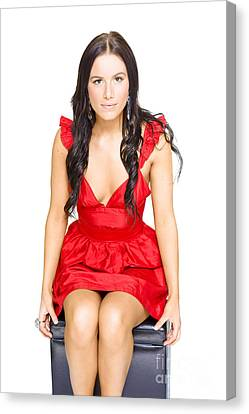 Cute Woman Sitting Thinking And Dreaming In Red Dress Canvas Print by Jorgo Photography - Wall Art Gallery
