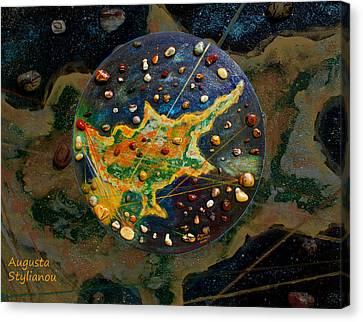Microcosm Canvas Print - Cyprus Planetary Map by Augusta Stylianou