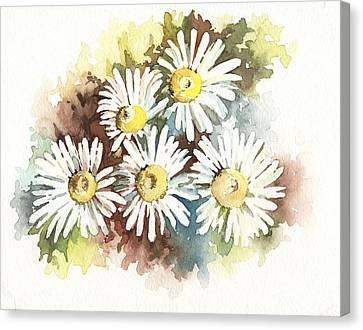 Canvas Print featuring the painting Daisies by Natasha Denger