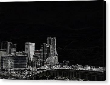 Dallas Skyline In Black - East Canvas Print