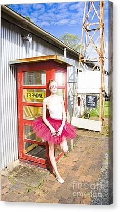 Dancer And Telephone Box Canvas Print by Jorgo Photography - Wall Art Gallery