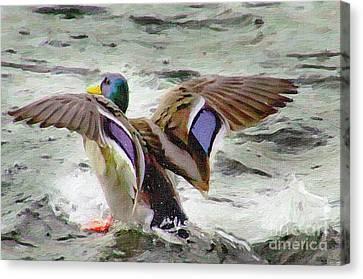 Dancing Bird Canvas Print by Sylvia  Niklasson