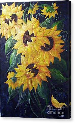 Dancing Sunflowers  Canvas Print by Eloise Schneider