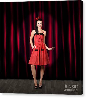 Dancing Woman Wearing Retro Rockabilly Dress  Canvas Print by Jorgo Photography - Wall Art Gallery