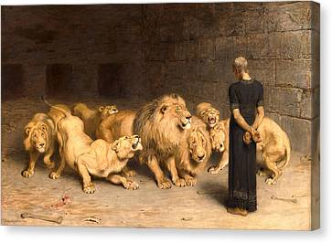 Briton Riviere Canvas Print - Daniel In The Lions Den by Briton Riviere