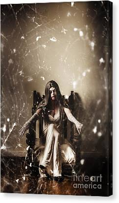 Dark Portrait Of A Demon Woman In Haunted House Canvas Print