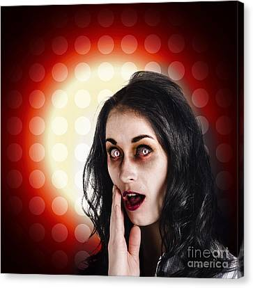 Shock Canvas Print - Dark Portrait Of A Zombie Girl In Shock Horror by Jorgo Photography - Wall Art Gallery