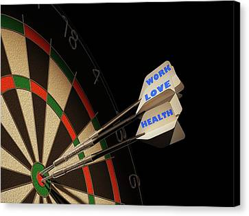 Dartboard And Three Darts Canvas Print by Leonello Calvetti