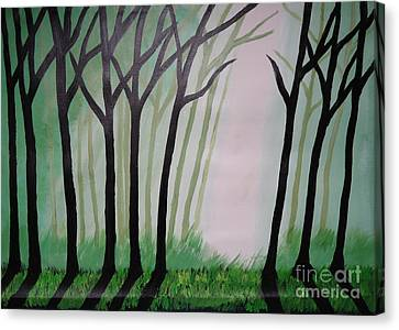 Day Light In Dark Forest Canvas Print by Jnana Finearts