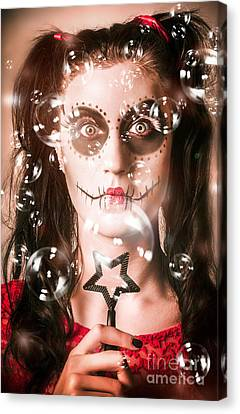 Day Of The Dead Girl Blowing Party Bubbles Canvas Print by Jorgo Photography - Wall Art Gallery