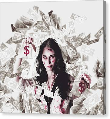 Dead Business Woman In Financial Crisis Debt Canvas Print by Jorgo Photography - Wall Art Gallery