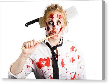 Tasting Canvas Print - Dead Chef With Wooden Spoon. Kitchen Nightmare by Jorgo Photography - Wall Art Gallery