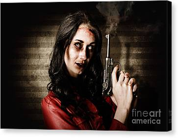 Dead Private Eye Detective Holding Smoking Gun Canvas Print by Jorgo Photography - Wall Art Gallery