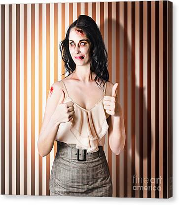 Dead Set Business Woman Ready With Thumbs Up Canvas Print by Jorgo Photography - Wall Art Gallery