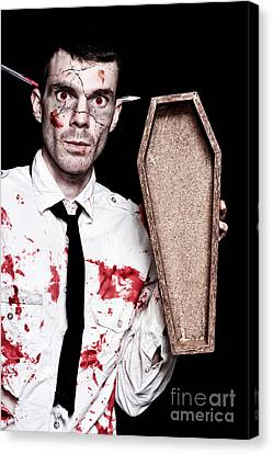 Dead Zombie Business Man Holding Funeral Coffin Canvas Print by Jorgo Photography - Wall Art Gallery