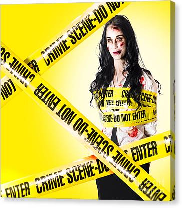 Arrest Canvas Print - Dead Zombie Wrapped In Tape At Crime Scene by Jorgo Photography - Wall Art Gallery