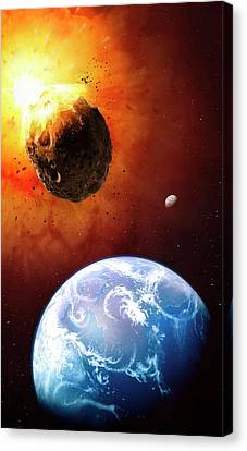 Deflecting A Near-earth Asteroid Canvas Print by Mark Garlick