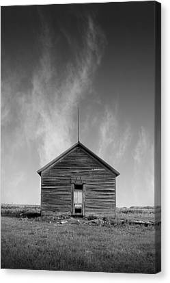 Defunct Country School Building - Rural North Dakota Canvas Print by Donald  Erickson
