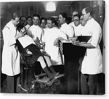 Dentistry Canvas Print - Demonstrating Orthodontia by Underwood Archives