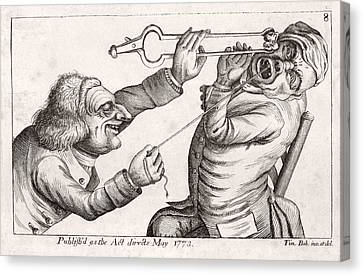 Collier Canvas Print - Dentistry Caricature, 18th Century by Science Photo Library