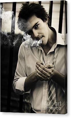 Depressed Business Man Smoking 3 Cigarettes Canvas Print
