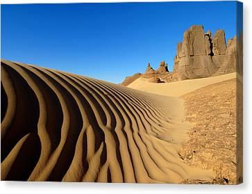Hoggar Canvas Print - Desert Dunes And Rocks, Algerian Sahara by Science Photo Library